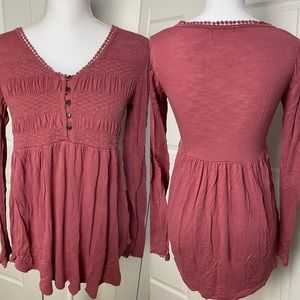 Maurices Rust Ruched Top with faux button detail